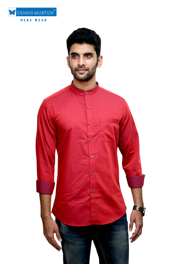 Maroon Mandarin Collar Semi Casual Shirt