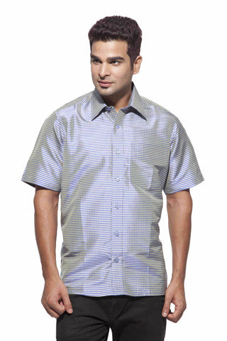 Men's Blue and Ash Checks Party Full Sleeve Dupion Silk