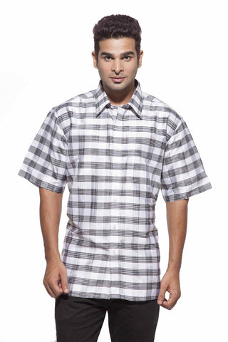 Men's Black & white checks Party Full Sleeve Dupion Silk