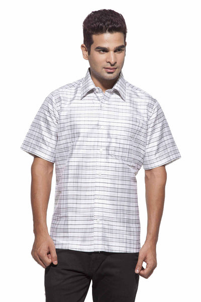 Men's White & Black Checks Party Full Sleeve Dupion Silk