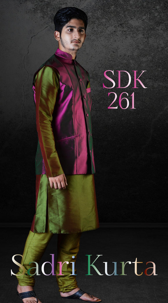 Double shade Purplish Pink color Pure Dupioni Silk Waistcoat