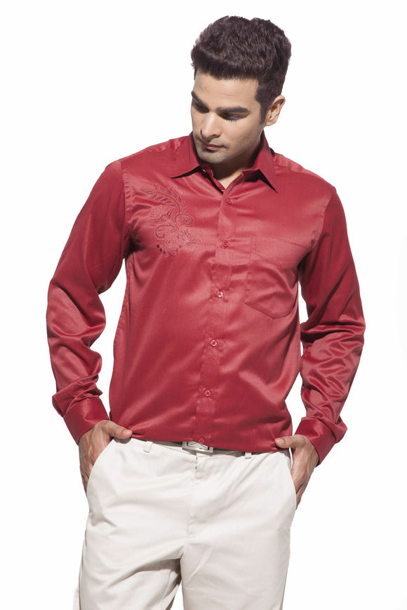 Men's Reddish Maroon Party Full Sleeve Satin Embroidered