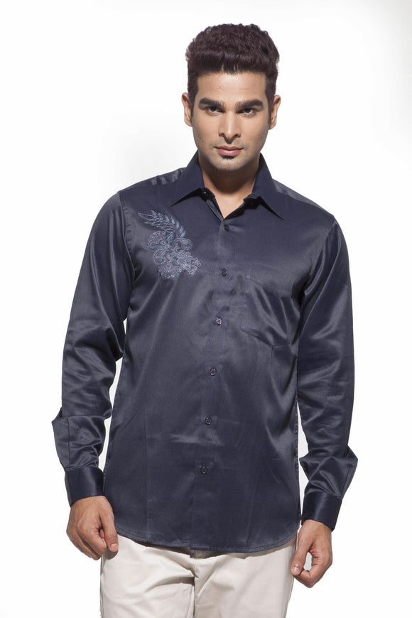 Men's Navy Blue Party Full Sleeve Satin Embroidered