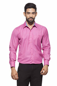 Men's Pink & Blue check Semi-Formal Full Sleeve Poly Viscose