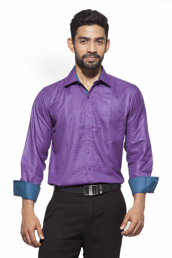 Men's Purple&blue checks Semi-Formal Full Sleeve Poly Viscose