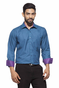 Men's Teal&Blue checks Semi-Formal Full Sleeve Poly Viscose