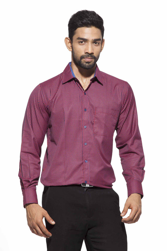Men's Red & Black checks Semi-Formal Full Sleeve Poly Viscose