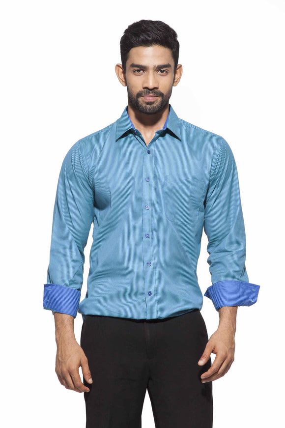 Men's Teal & Blue Stripes Semi-Formal Full Sleeve Poly Viscose