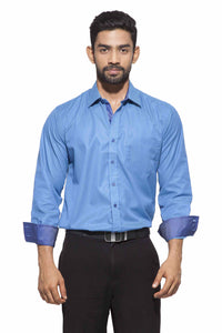 Men's Light Blue & Navy Blue Stripes Semi-Formal Full Sleeve Poly Viscose