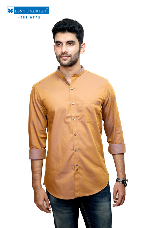 Sandal Wood Color Mandarin Collar Semi Casual Shirt
