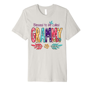 Blessed To Be Called Grammy Flower T-Shirt Funny Grammy Gift Premium T-Shirt
