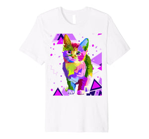 70s 80s Party Trippy Cat Premium T-Shirt