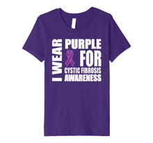 Load image into Gallery viewer, Cystic Fibrosis Awareness Purple Ribbon Support T-shirt