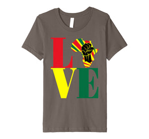 African Pride Black Power Fist Love Africa Map t-shirt
