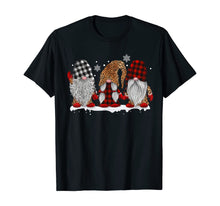 Load image into Gallery viewer, Three Gnomes In Leopard Printed Buffalo Plaid Christmas Gift T-Shirt