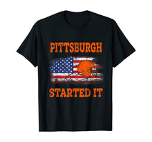 Load image into Gallery viewer, Vintage Pittsburgh Started It Helmet American Flag US Flag T-Shirt