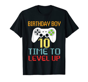 Kids Level 10 Unlocked T-Shirt 10th Video Gamer Birthday Gif