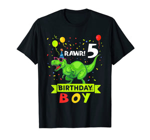 Kids 5 Year Old Shirt 5th Birthday Boy T Rex Dinosaur Shirts