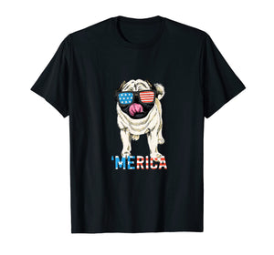 4th July Shirt Gift Men Women Kids Merica Pug USA Flag Tee