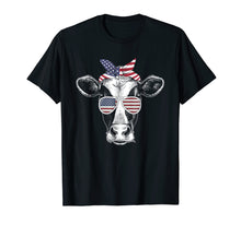 Load image into Gallery viewer, Best Cow U.S flag sunglasses 4th of July tshirt