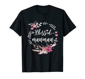 Blessed Mawmaw Shirt Thanksgiving Floral Funny Gift T-Shirt