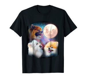 Pomeranian Dog T Shirt - Howling at Moon