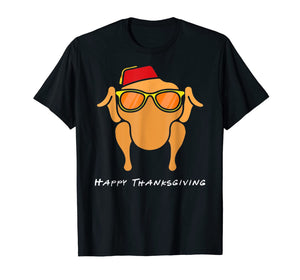 Turkey Head Happy Thanksgiving Glasses red Hat Monica T-Shirt