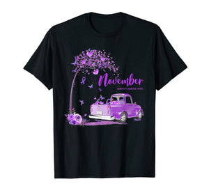 Truck Purple Ribbon November Alzheimer's Awareness Month T-Shirt