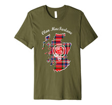 Load image into Gallery viewer, MacFarlane surname last name Scottish Clan tartan crest
