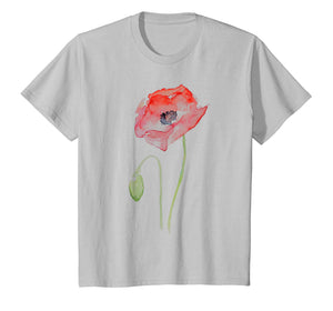Red Poppy Watercolor Floral T-shirt