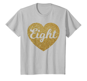 Eight - 8th Birthday Shirt for Girls, Heart Design