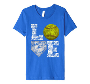 Softball Distressed Ball T-Shirt Cute Mom Love Tee