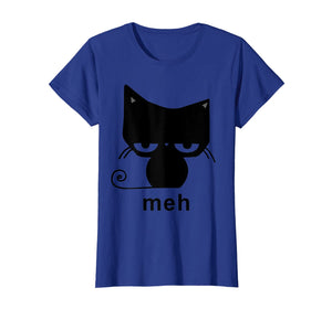 Meh Black Cat Funny Gift For Cat Lovers Men Women T-Shirt