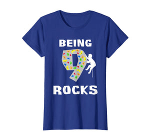 Being 9 Years Old Rocks Funny Rock Climber Birthday T Shirt