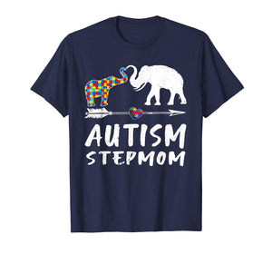 Elephant Autism Step Mom Heart Love - Autism Awareness Shirt