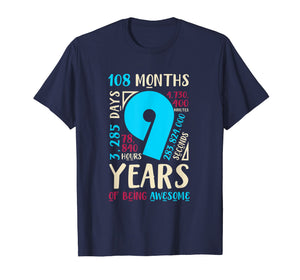 9th Birthday Gifts Son Daughter Nine 9 Year Old Boys Girls T-Shirt