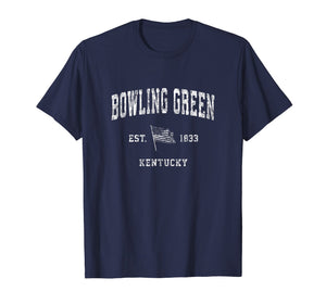 Bowling Green Kentucky KY T-Shirt Vintage US Flag Sports Tee