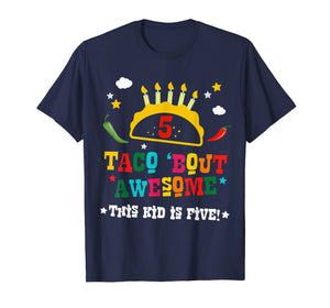 5th Birthday Taco Bout Awesome Shirt for Boys Party Tee Gift