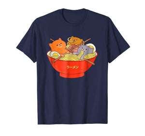 Kawaii Anime Cat Shirt Japanese Ramen Noodles Gift TShirt