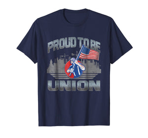 Union Laborer Proud To Be Union Worker American Flag T Shirt