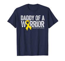 Load image into Gallery viewer, Mens Daddy of a Warrior Childhood Cancer Shirt Dad Ribbon