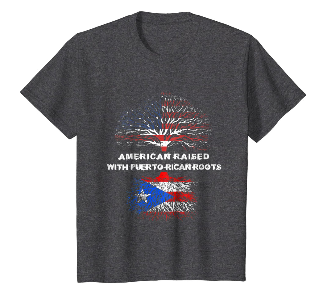 American Raised with Puerto Rican Roots USA Flag T-Shirt