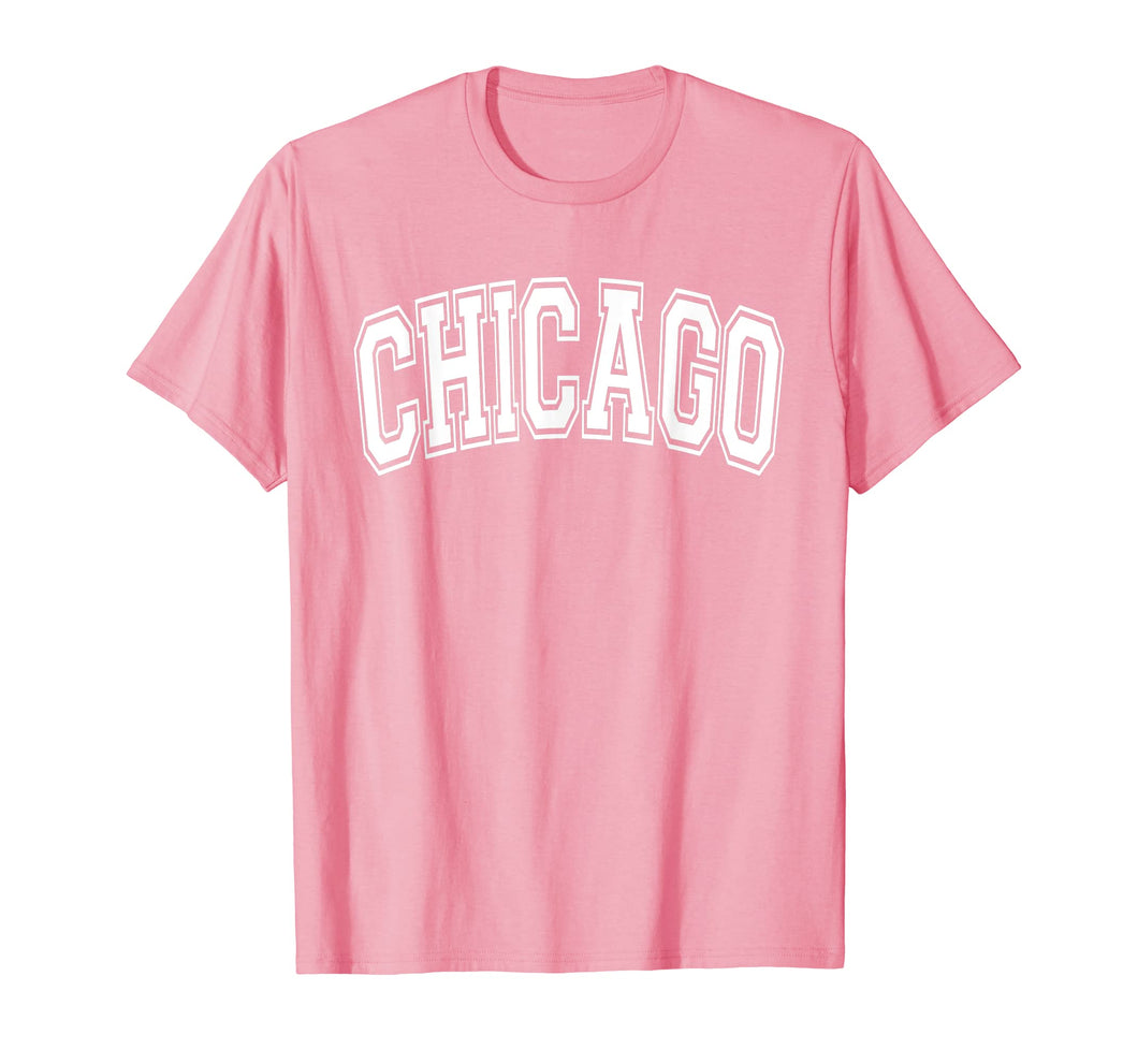 Chicago T Shirt - Varsity Style White Text