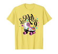 Load image into Gallery viewer, Lets roll into 9 Birthday. Unicorn, Roller skate T-shirt.