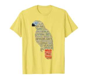 African Grey Parrot T Shirt with Parrot Word Art