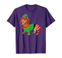 Load image into Gallery viewer, Dachshund in Elf costume-Funny Dachshund Christmas Pajama T-Shirt