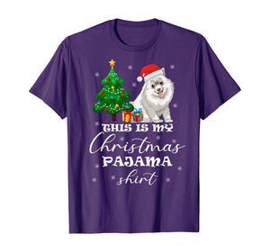 This is my Christmas Pajama Samoyed Costume Santa Hat gift T-Shirt