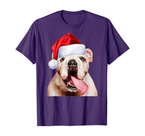 White English Bulldog Santa Hat Cute Image Christmas Gift T-Shirt