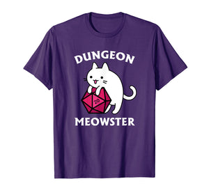 Dungeon Meowster Funny DnD Tabletop Gamer Cat D20 Tshirt