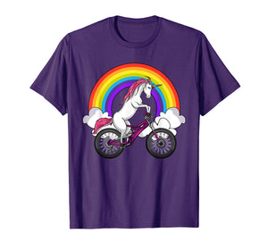 Unicorn Riding Bike Magical Rainbow Bicycle Women Girl Shirt
